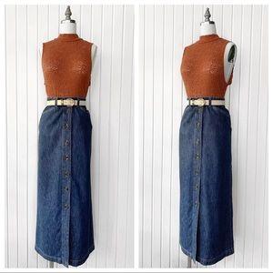 Vintage 1990s Denim Midi Button Front Skirt